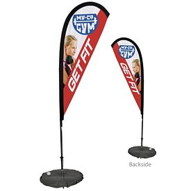 Customized 6 Ft Tear Drop Sail Sign Kit Double-Sided w/Scissor Base