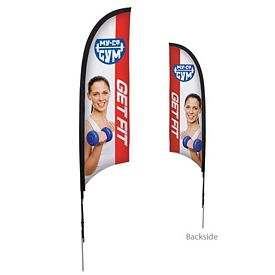 Promotional 7 Ft Razor Sail Sign Kit Double-Sided w/Spike Base