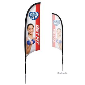 Customized 7 Ft Razor Sail Sign Kit Single-Sided w/Spike Base