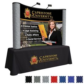 Promotional 8 Ft Arise Curved Table Top Kit (Mural w/Fabric Ends)