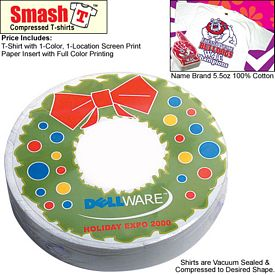 Promotional Compressed T-Shirt: Christmas Wreath