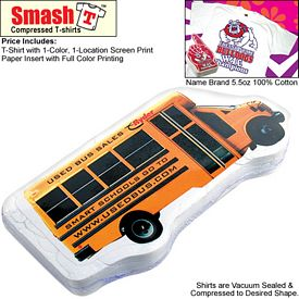 Promotional Compressed T-Shirt: School Bus - Youth Size