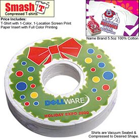 Promotional Compressed T-Shirt: Donut Style Christmas Wreath