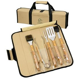 Promotional 5pc BBQ Set Bamboo in Roll-Up Case