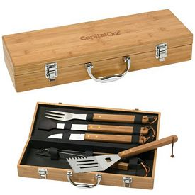 Promotional BBQ 5 Piece Deluxe Bamboo Set