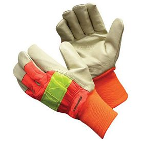 Promotional Hi Vis Leather Gloves