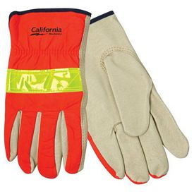 Promotional Hi Vis Orange Leather Demolition Gloves