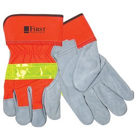 Promotional Hi-Vis Leather Safety Cuff Gloves