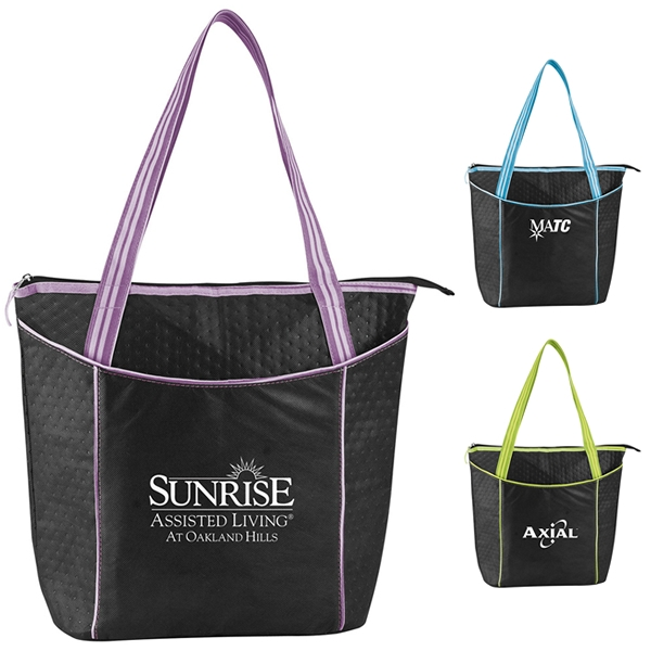 Promotioinal Striped Nonwoven Cooler Tote Bag 46017f8c4511b