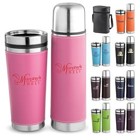Promotional Leatherette Tumbler Vacuum Bottle Set