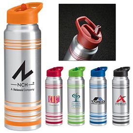 Promotional 28 Oz Striped Aluminum Water Bottle
