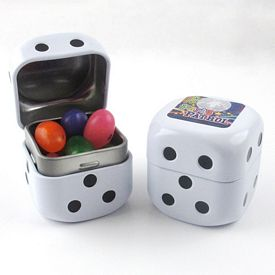Promotional Dice Shaped Jelly Beans Tin