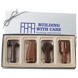 Promotional Four Tool Shapes Molded Chocolates In Gift Box