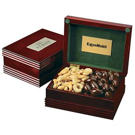 Promotional Deluxe Wood Box With Engraved Plate And 2 Confections