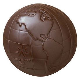 Promotional 5oz Chocolate Shape Globe 2-Pc Box