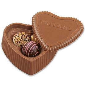 Promotional Milk Chocolate Heart 3 Filled Assorted Truffles Box