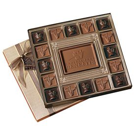 Promotional Custom Molded 17 Piece Chocolate Squares Gift Box