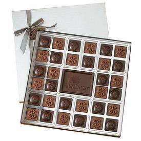 Promotional Custom Molded 32 Piece Chocolate Squares Gift Box