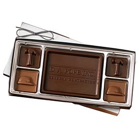 Promotional Custom Molded 5 Piece Chocolate Squares Gift Box