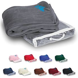 Promotional 50x60 Embroidered Micro Coral Fleece Blanket