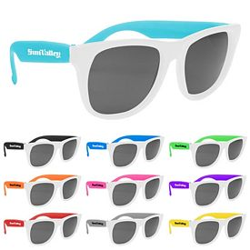 Customized Vibrant Trim White Frame Sunglasses