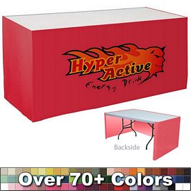 Promotional Digital 8 Ft Digital Print Flat Skirt Table Wrap - Open Back