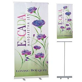 Promotional 33x79 Economy Retractable Banner Stand Set Item #33X79B7E-DG-BP