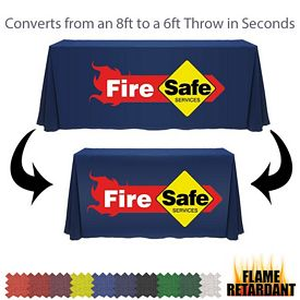 Promotional Digital Flame Retardant 6ft to 8ft Convertible Throw Style Tablecloth