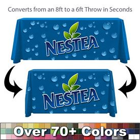 Promotional Digital 6ft to 8ft Convertible Throw Style Tablecloth Item #6-8-DG-CN-P