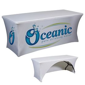 Promotional 6 Ft Spandex Open-Back Tablecloth Item #6FT-DG-3S-SPAN