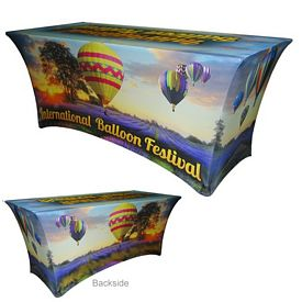 Promotional 8 Ft Spandex Tablecloth Item #8FT-DG-SPAN