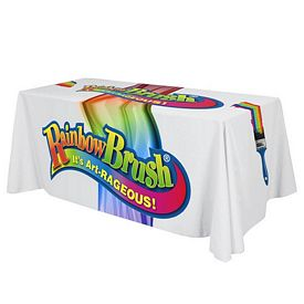 Promotional 6 Ft Full Color Sublimated Throw Style Tablecloth