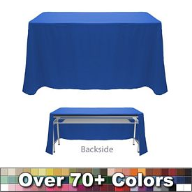 Non Printed 6 Ft Throw Style Tablecloth   Open Back