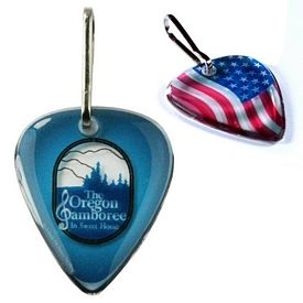 Promotional Zoogee Guitar Pick Zipper Pull Tag