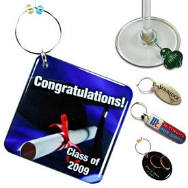 Promotional Zoogee Double Side Custom Shape Wine Glass Charm