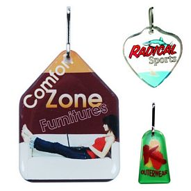 Promotional Zoogee Double Side Custom Shape Zipper Pull Tag